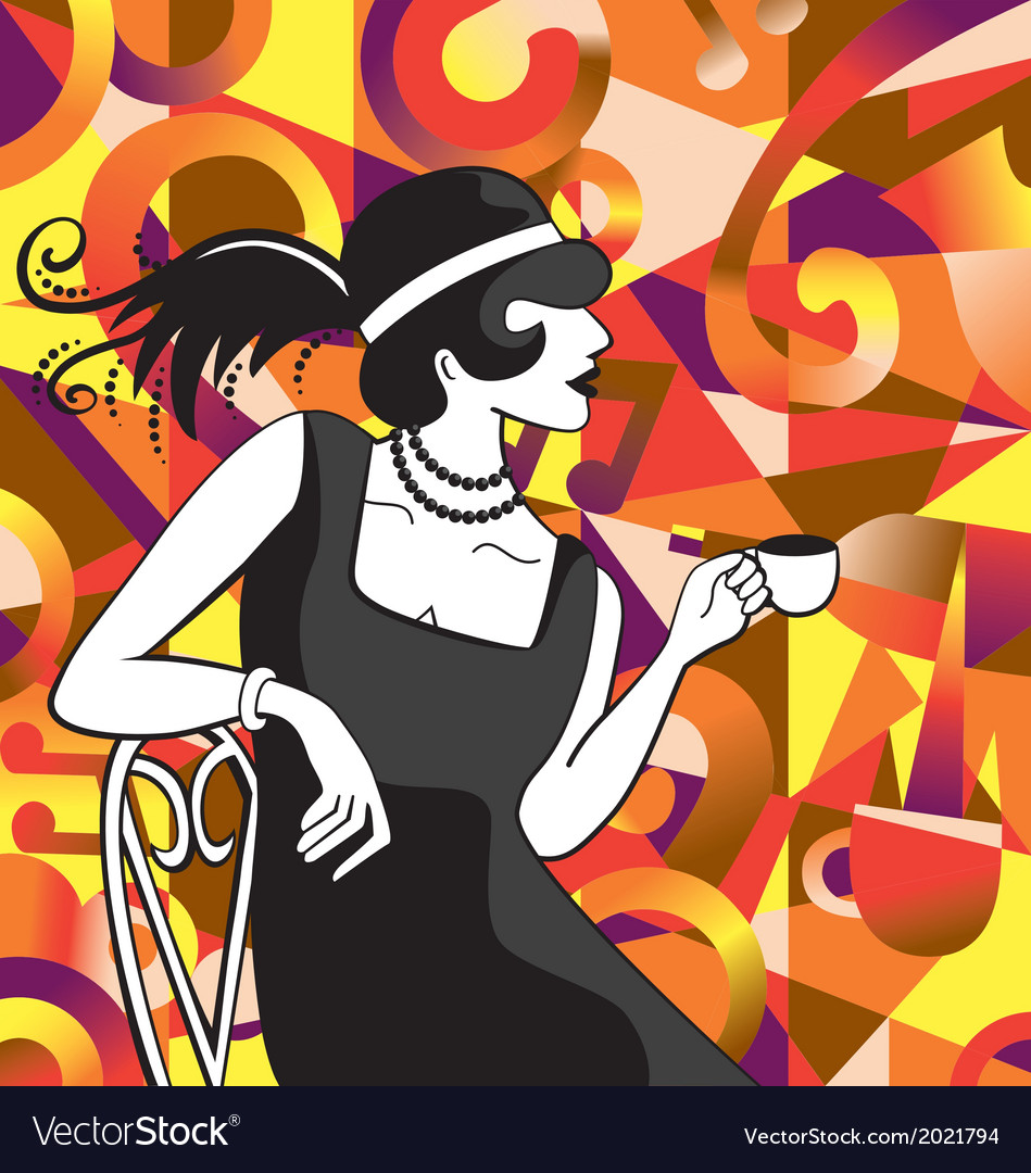 20s cafe woman vector