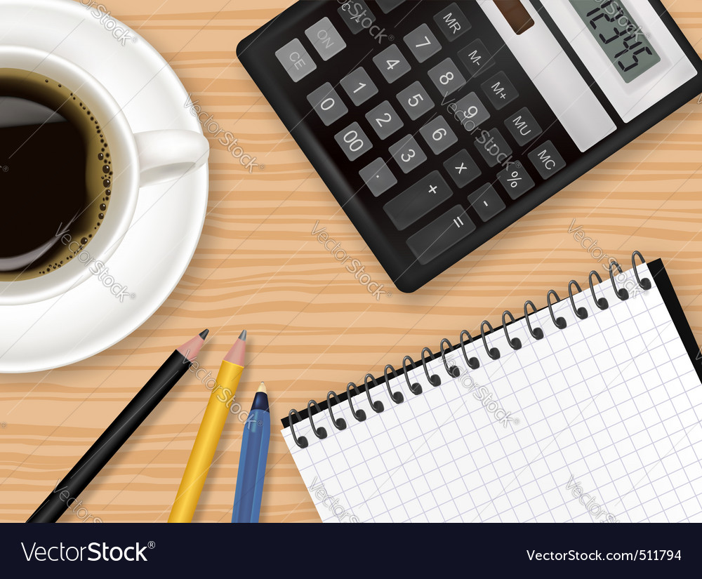 Notepad and coffee vector