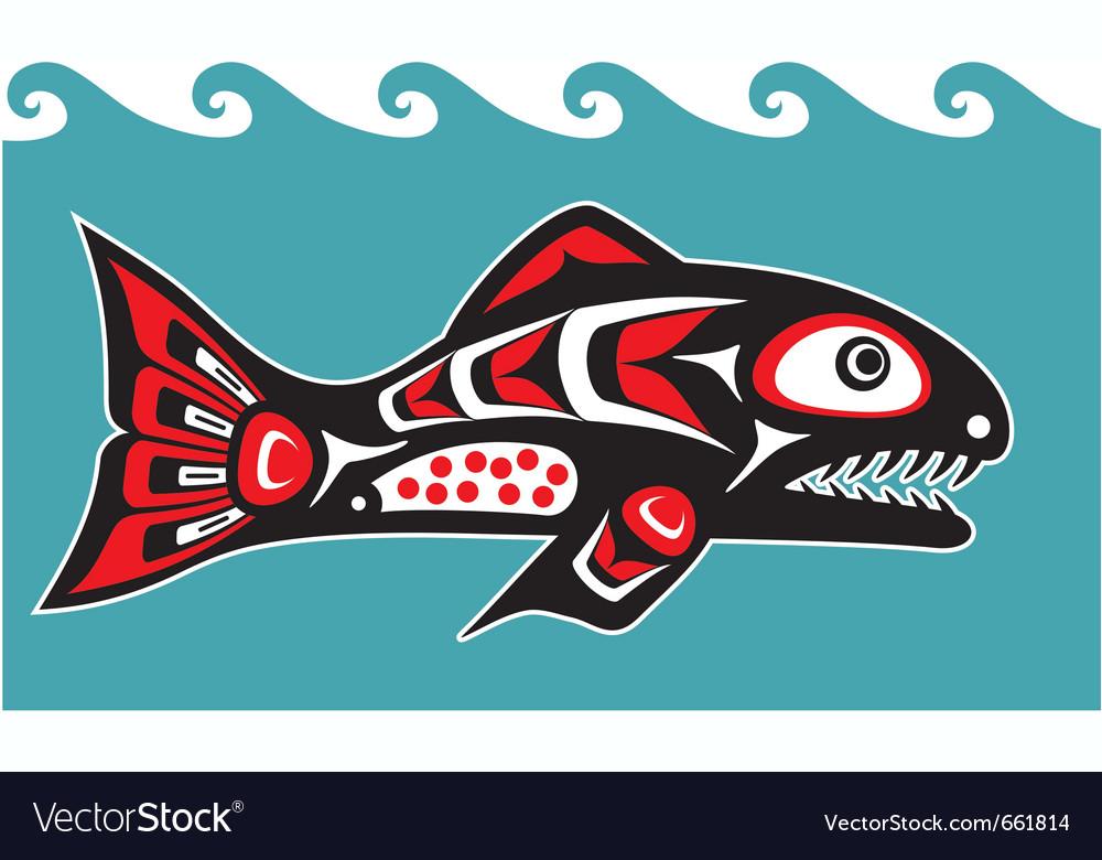 Fish - salmon - native american style vector