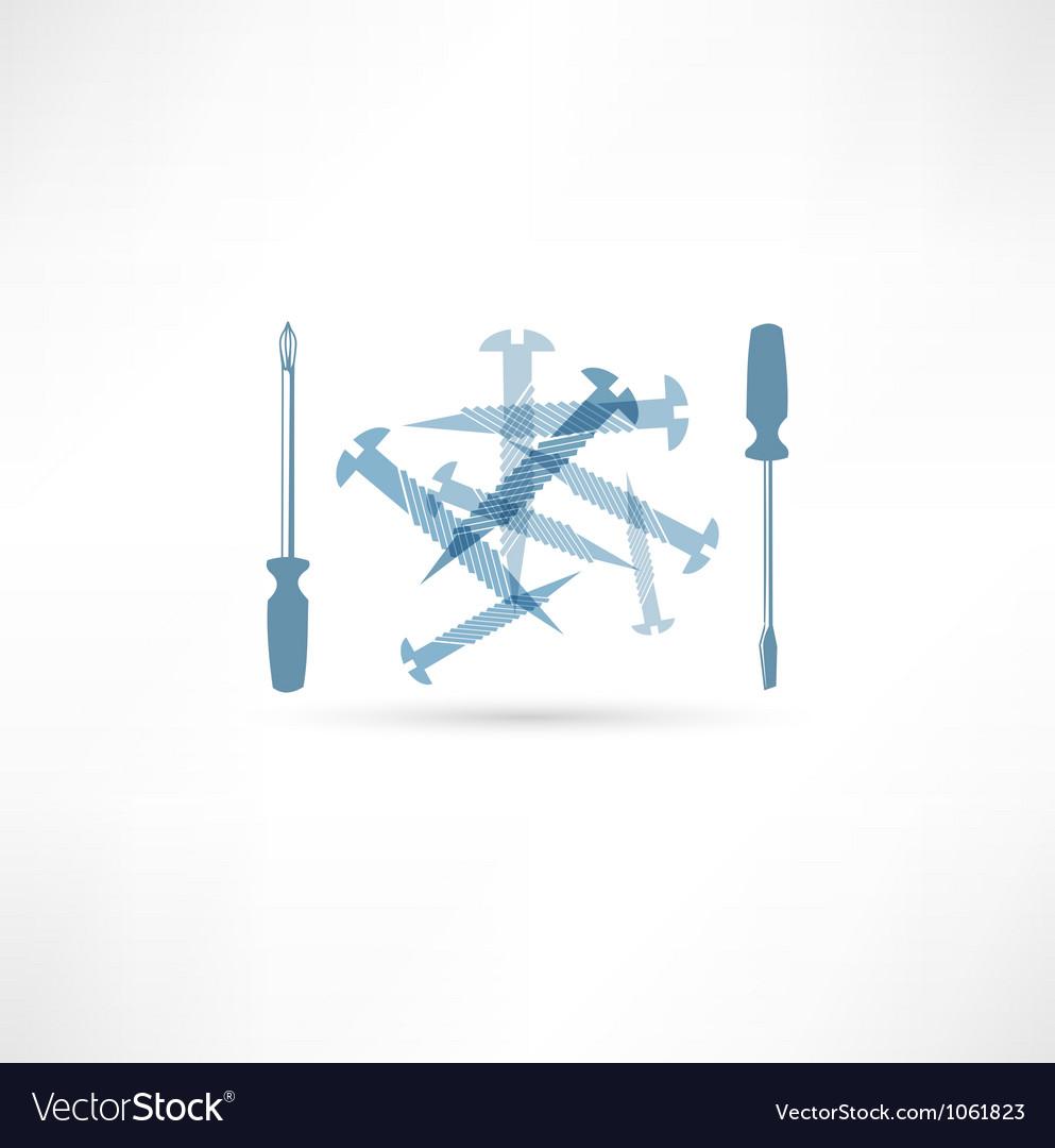 Screwdriver and screws repair icon vector