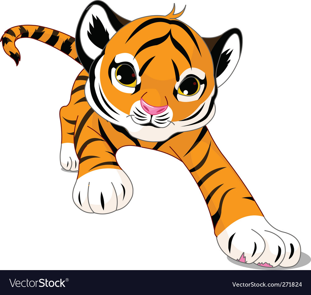 Cartoon baby tiger vector