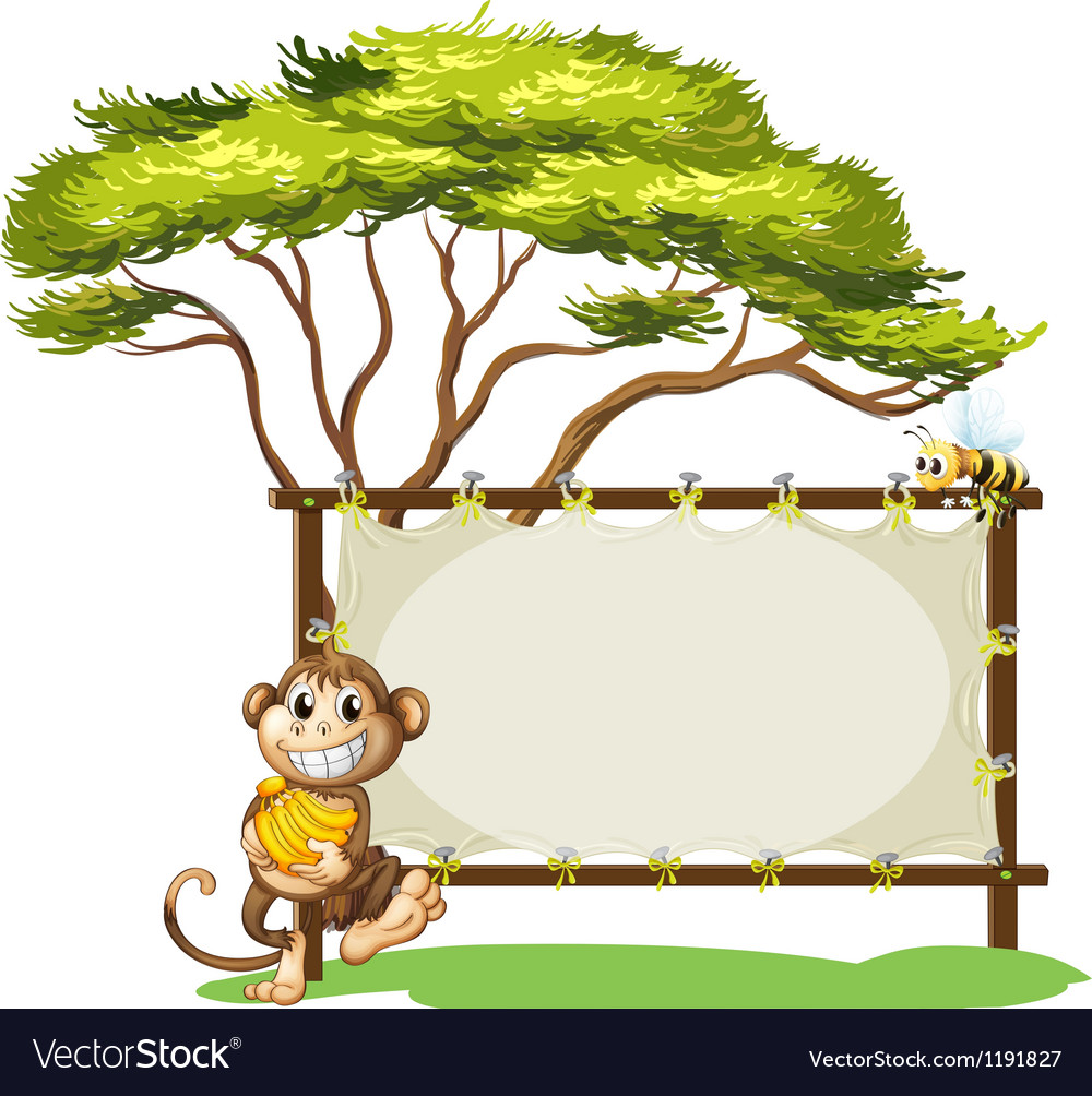 A monkey with a banana near the empty signage vector