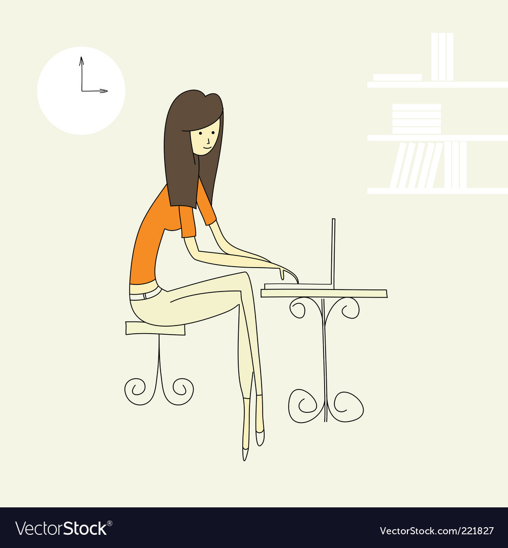 Girl working in a office vector
