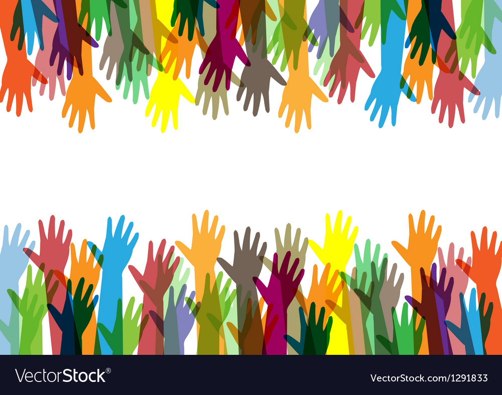 Hands of different colors cultural and ethnic dive vector