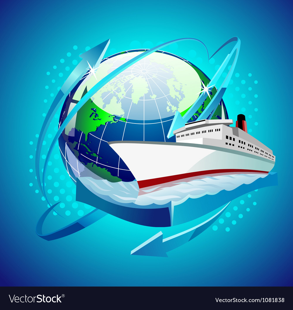 Ship in front of the globe vector
