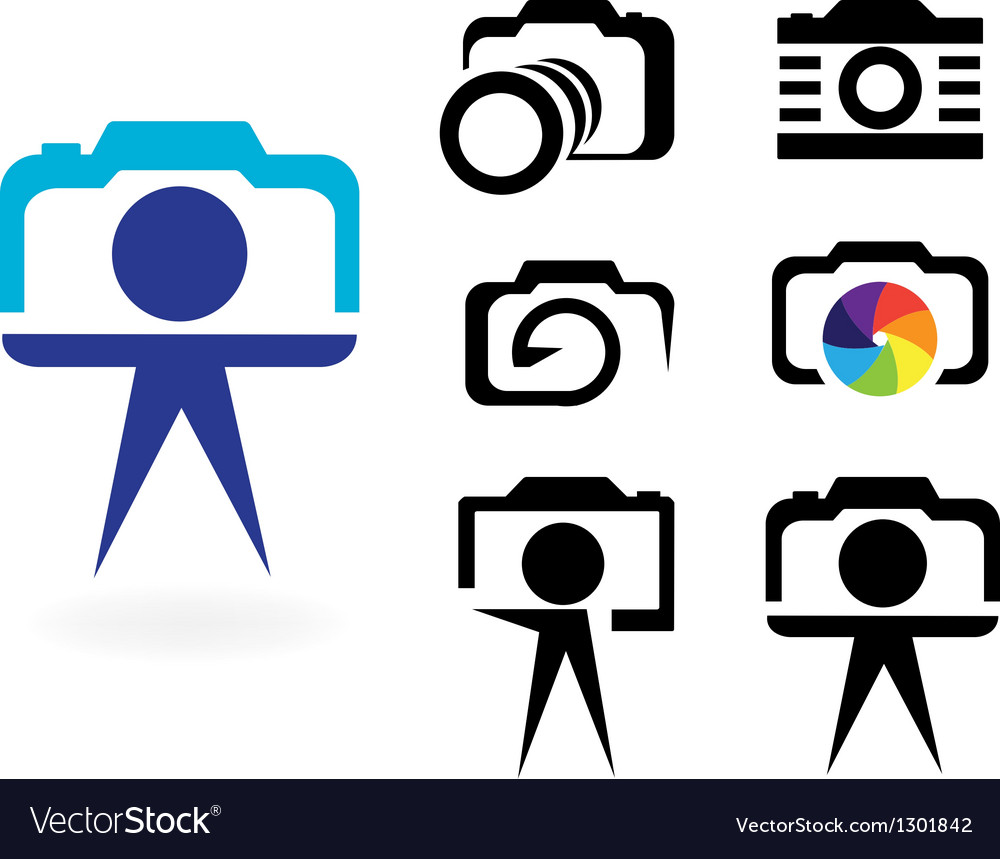 Set of stylized photo cameras vector