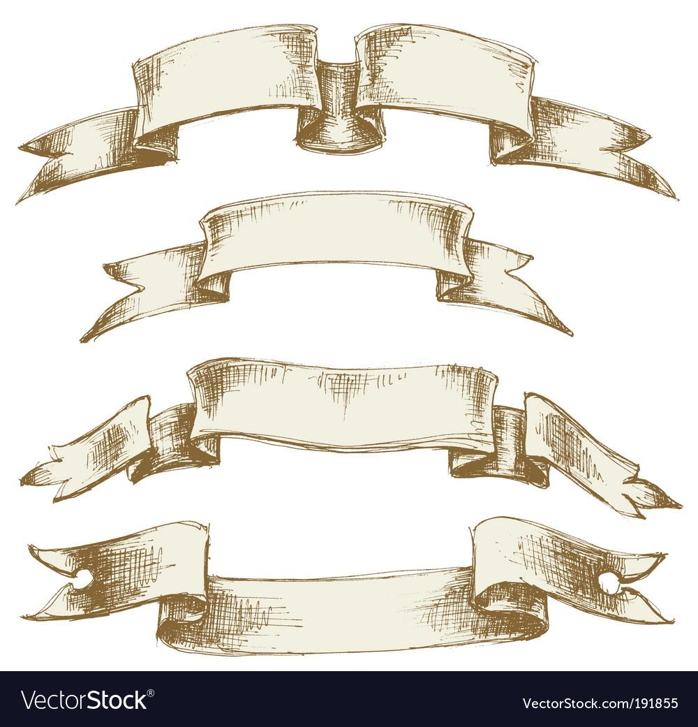 Vintage scrolls set vector