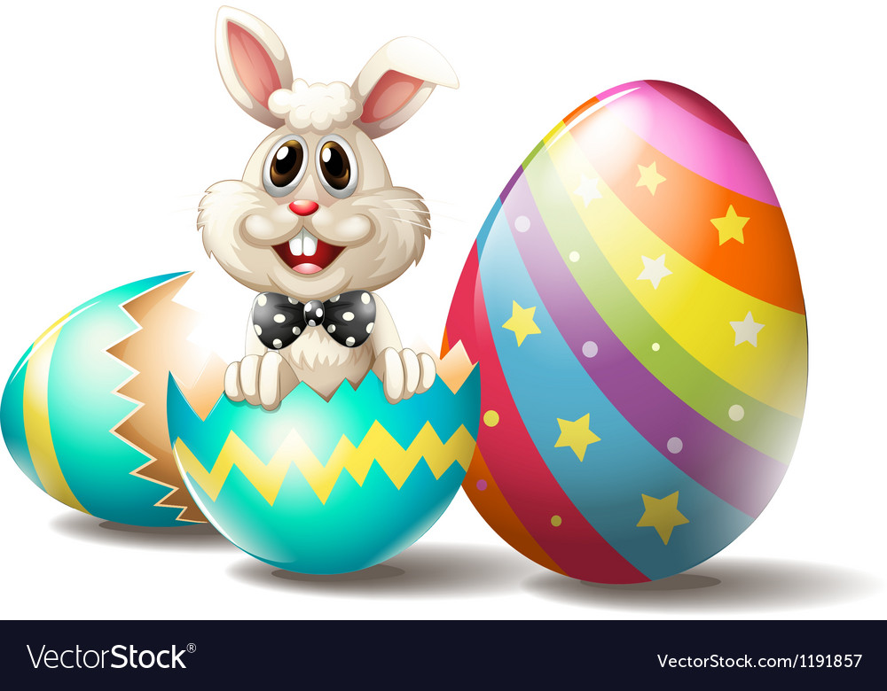 A rabbit inside a cracked easter egg vector