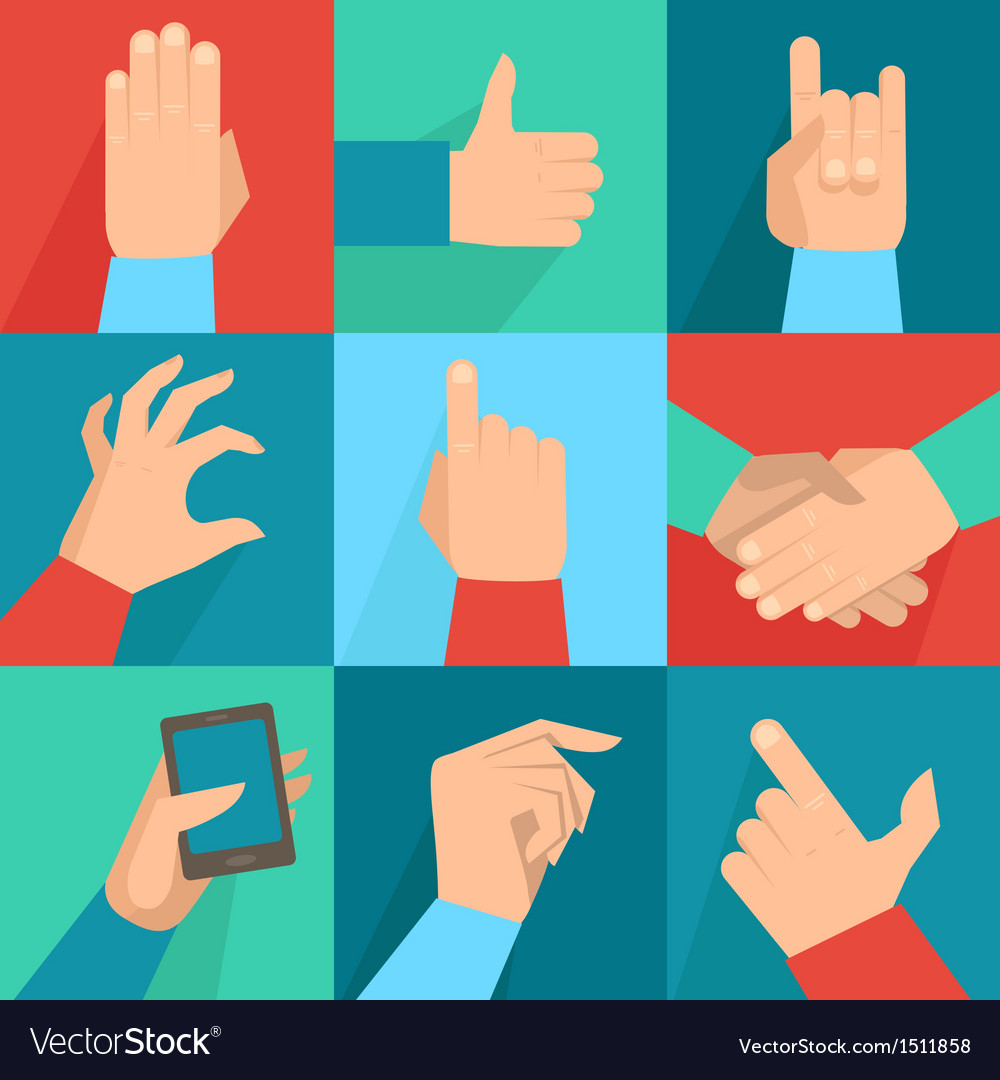 Set of hands and gestures vector
