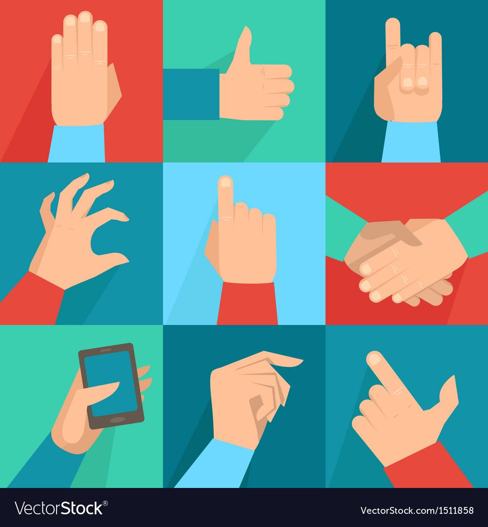 Set of hands and gestures vector