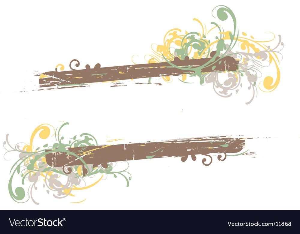 Grunge floral frame background vector