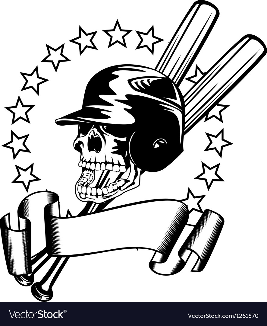 Skull in baseball helmet vector