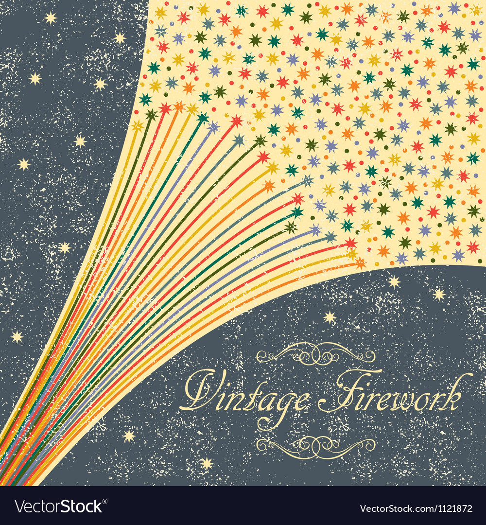 Abstract festive fireworks grunge background vector