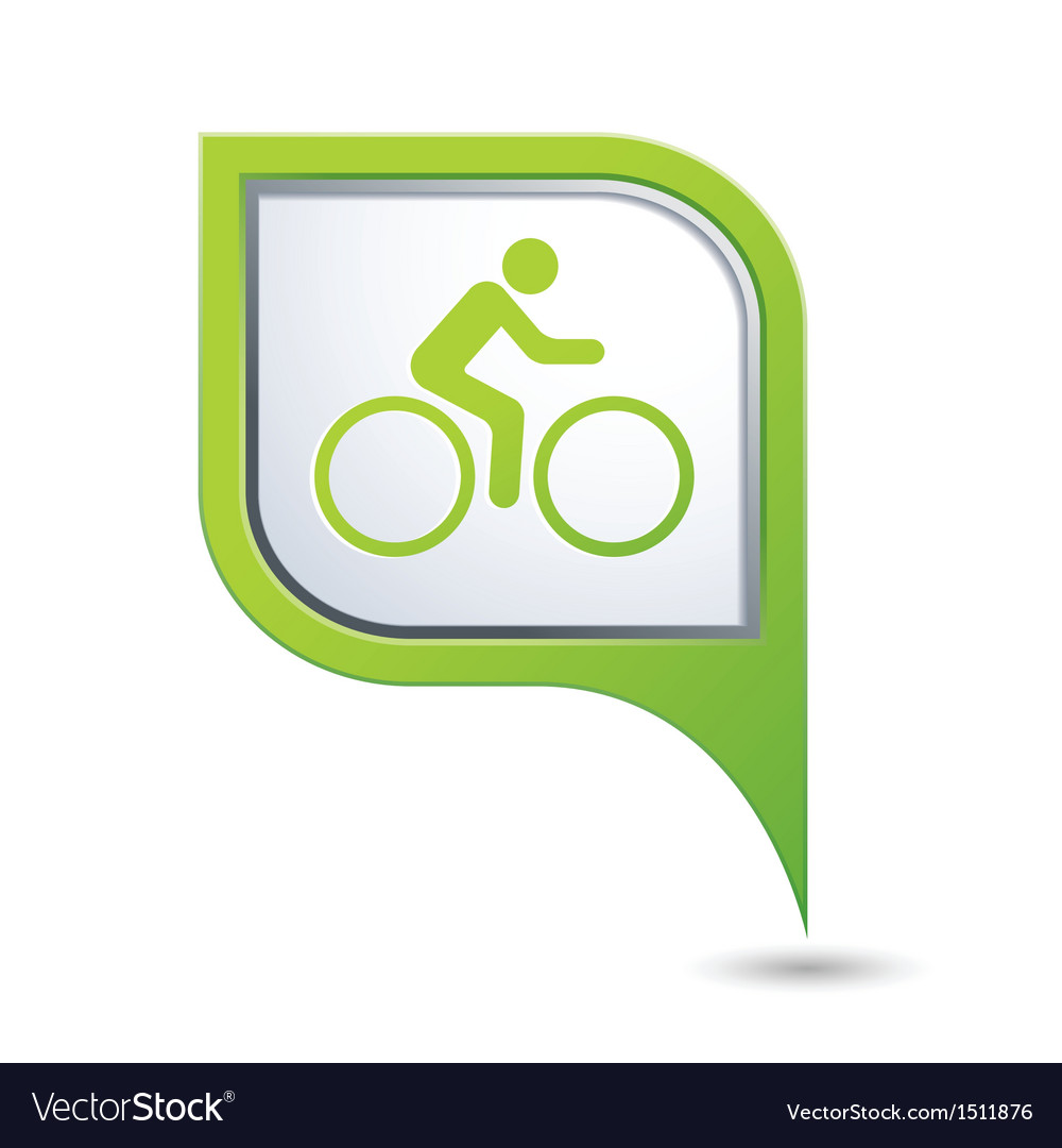 Cyclist symbol on green map pointer vector