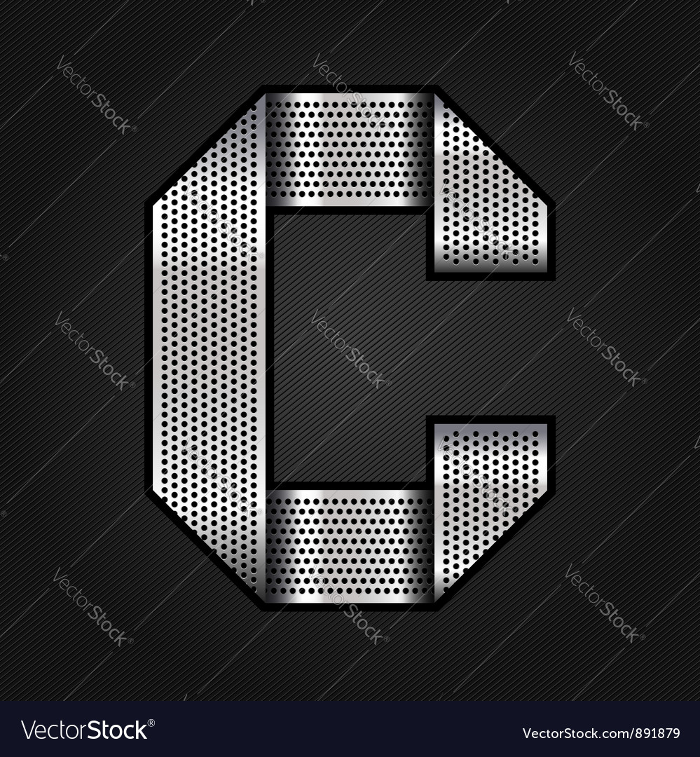 Letter metal chrome ribbon - c vector
