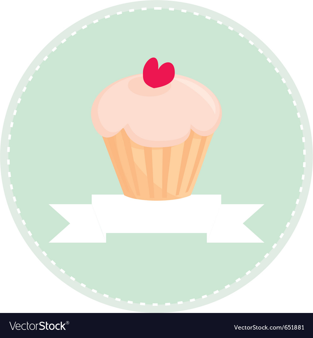 Sweet retro cupcake button with white place vector