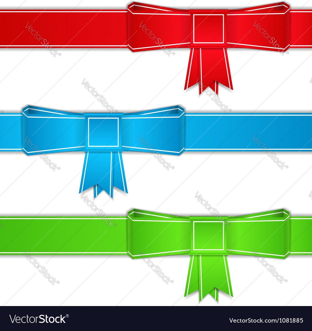 Ribbons with bows origami style vector