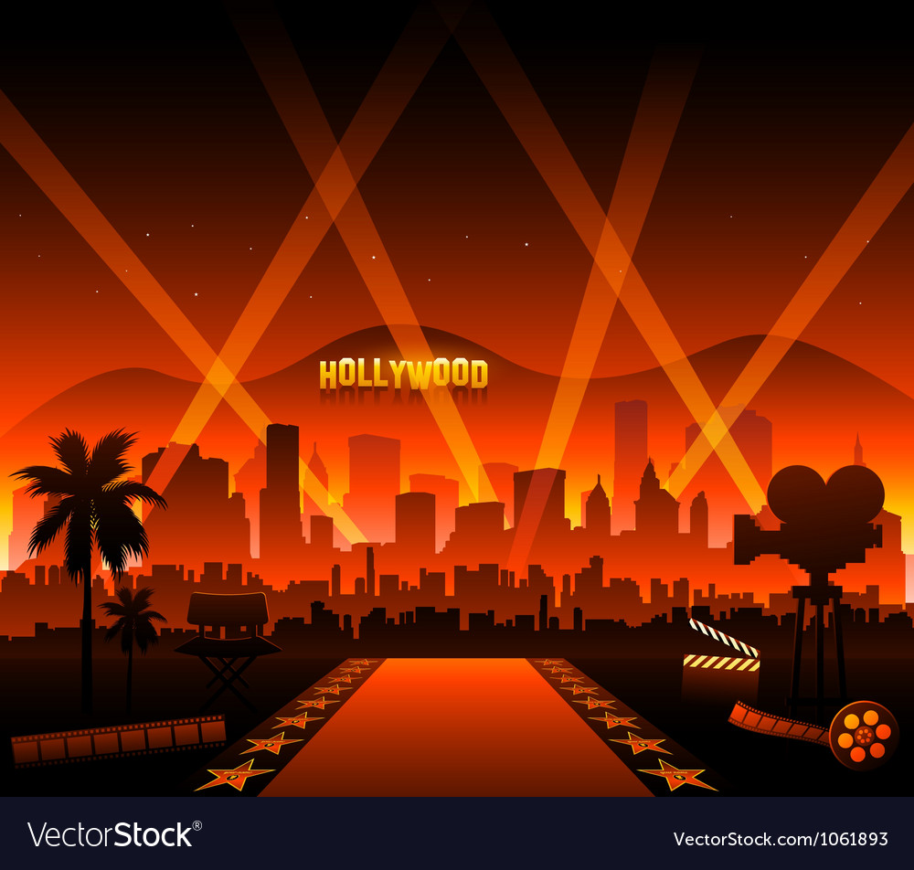Hollywood movie red carpet vector