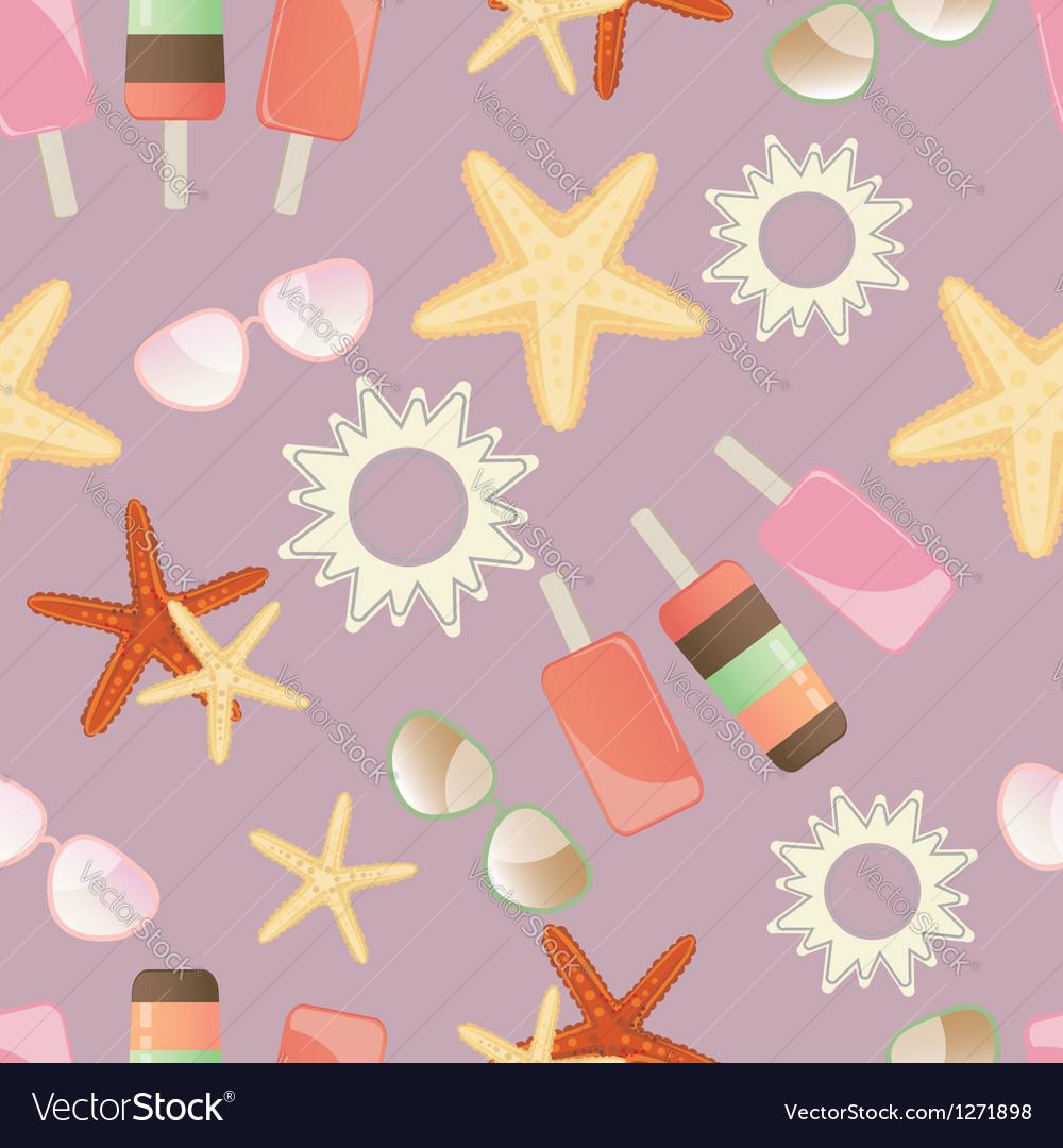 Summer sun starfish and icrecream vector