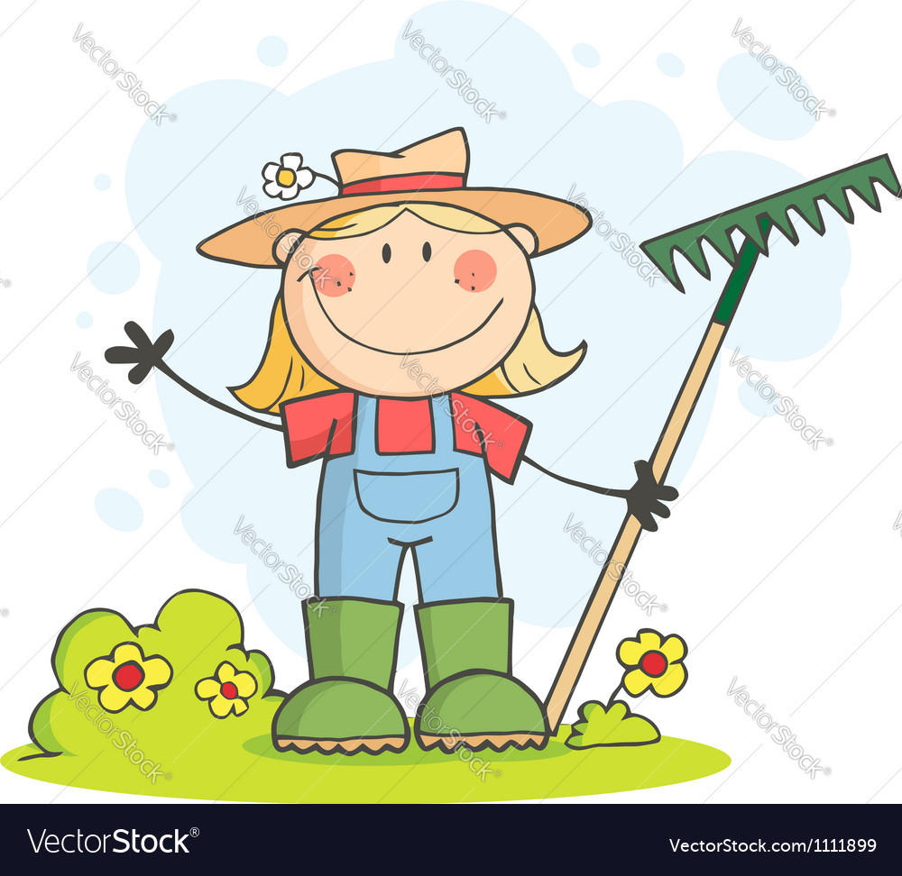 Gardening female child waving a greeting vector