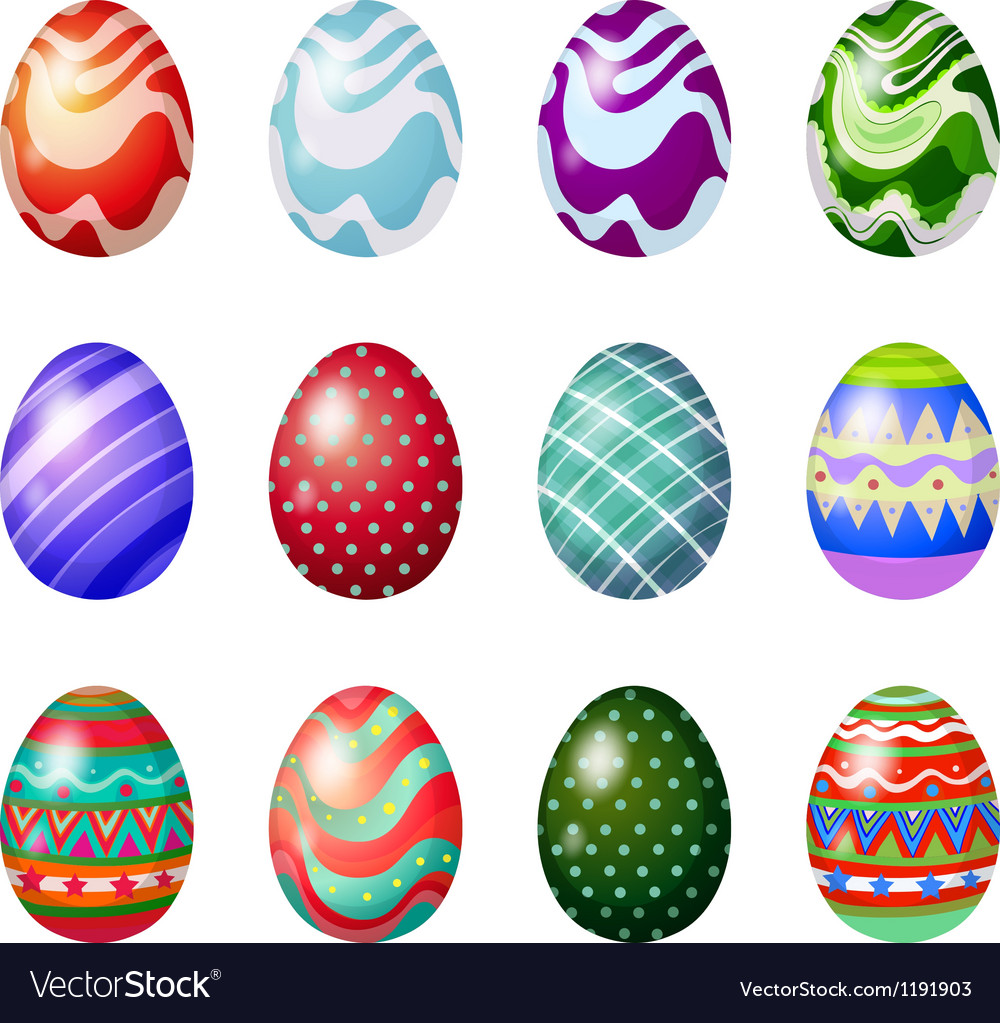 A dozen of painted easter eggs vector