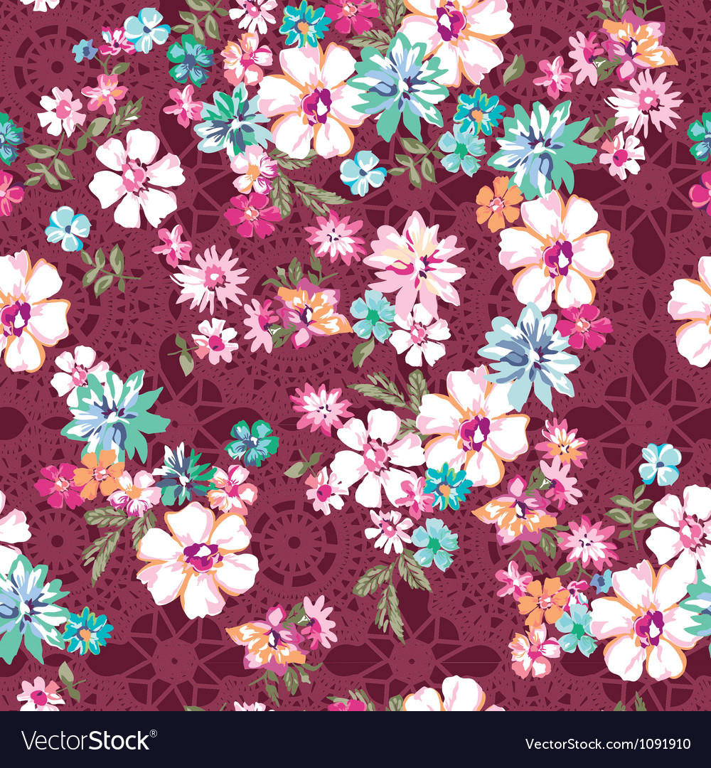 Awesome ditsy floral over lace seamless vector