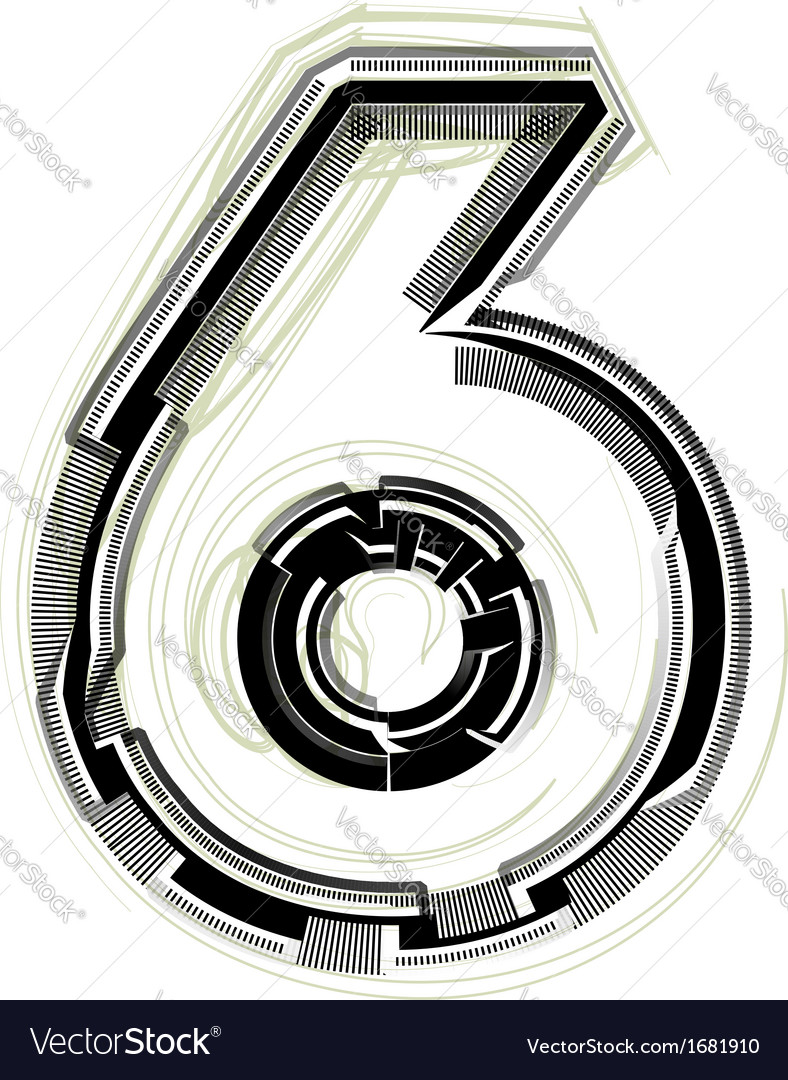 Technological font number 6 vector by aroas image 1681910