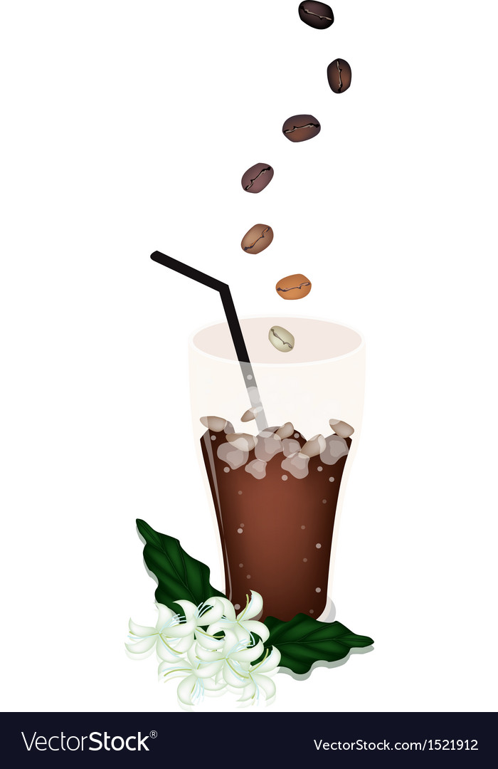 delicious iced coffee with beans and flower vector art ...