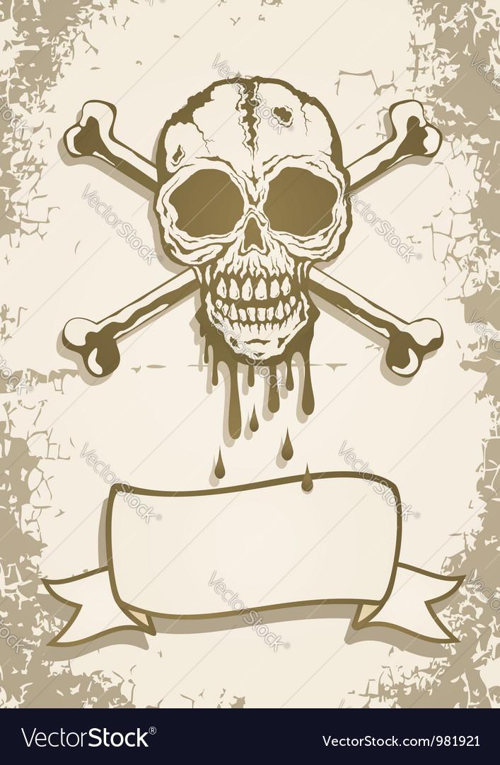 Skull scroll vector