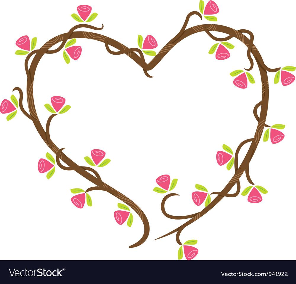Love floral doodle vector