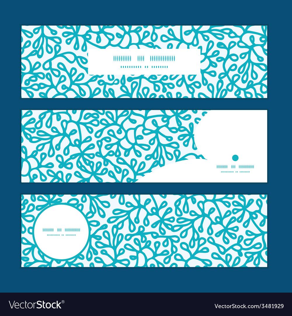 Abstract underwater plants horizontal banners set vector