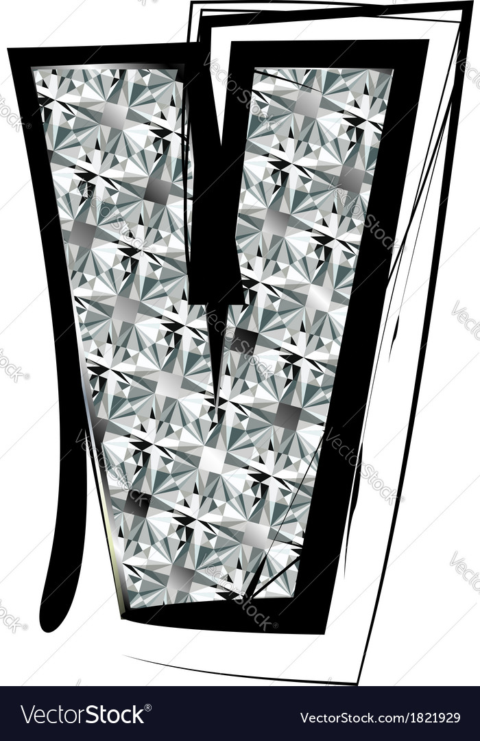 V Alphabet In Diamond Diamond font letter v vector by aroas - Image #1821929 - VectorStock