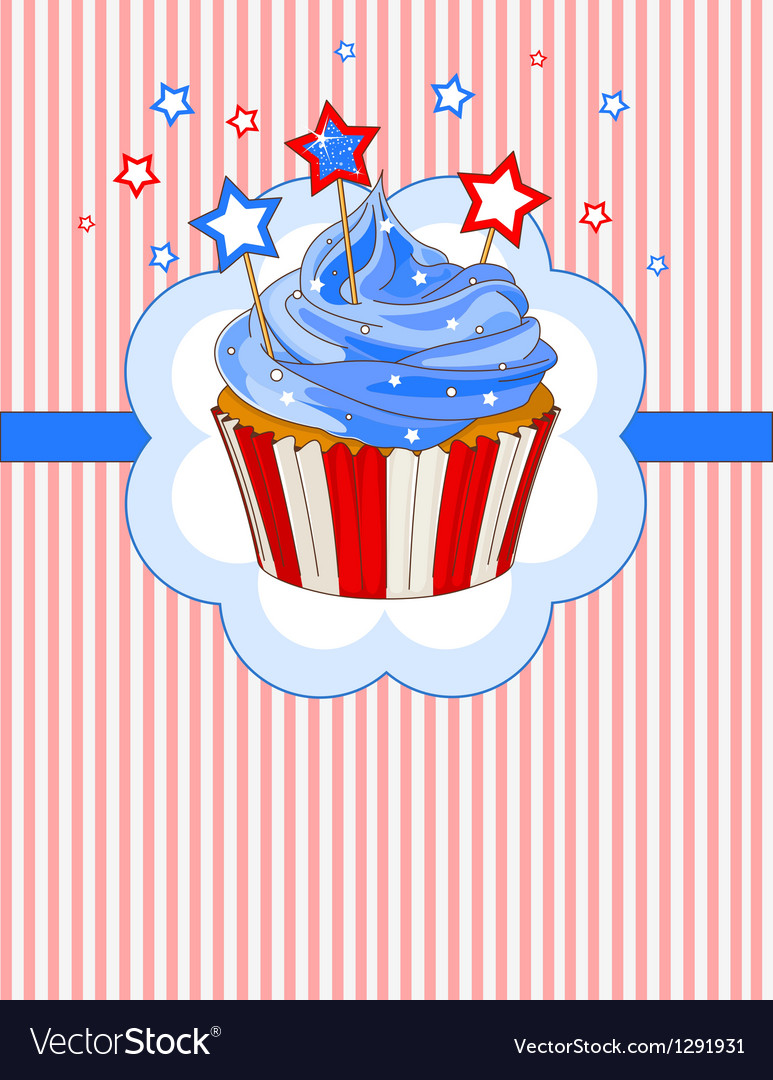 Patriotic cupcake place card vector