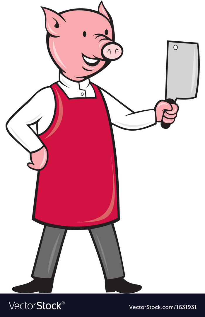 Pig butcher holding meat cleaver knife vector