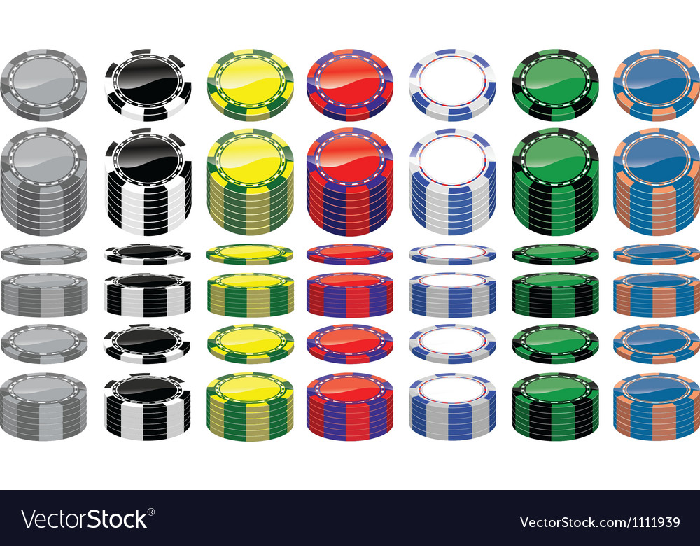 Set of poker chips vector