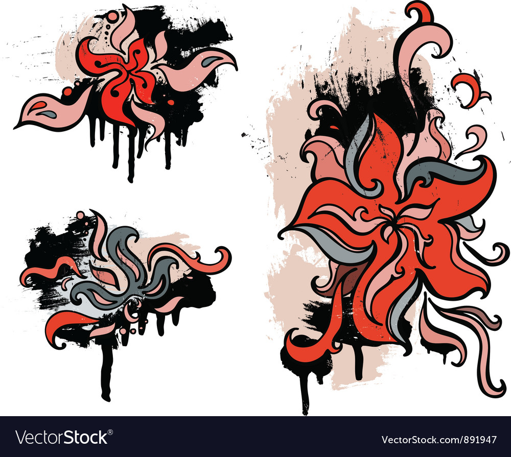 Red flowers set grunge design element vector