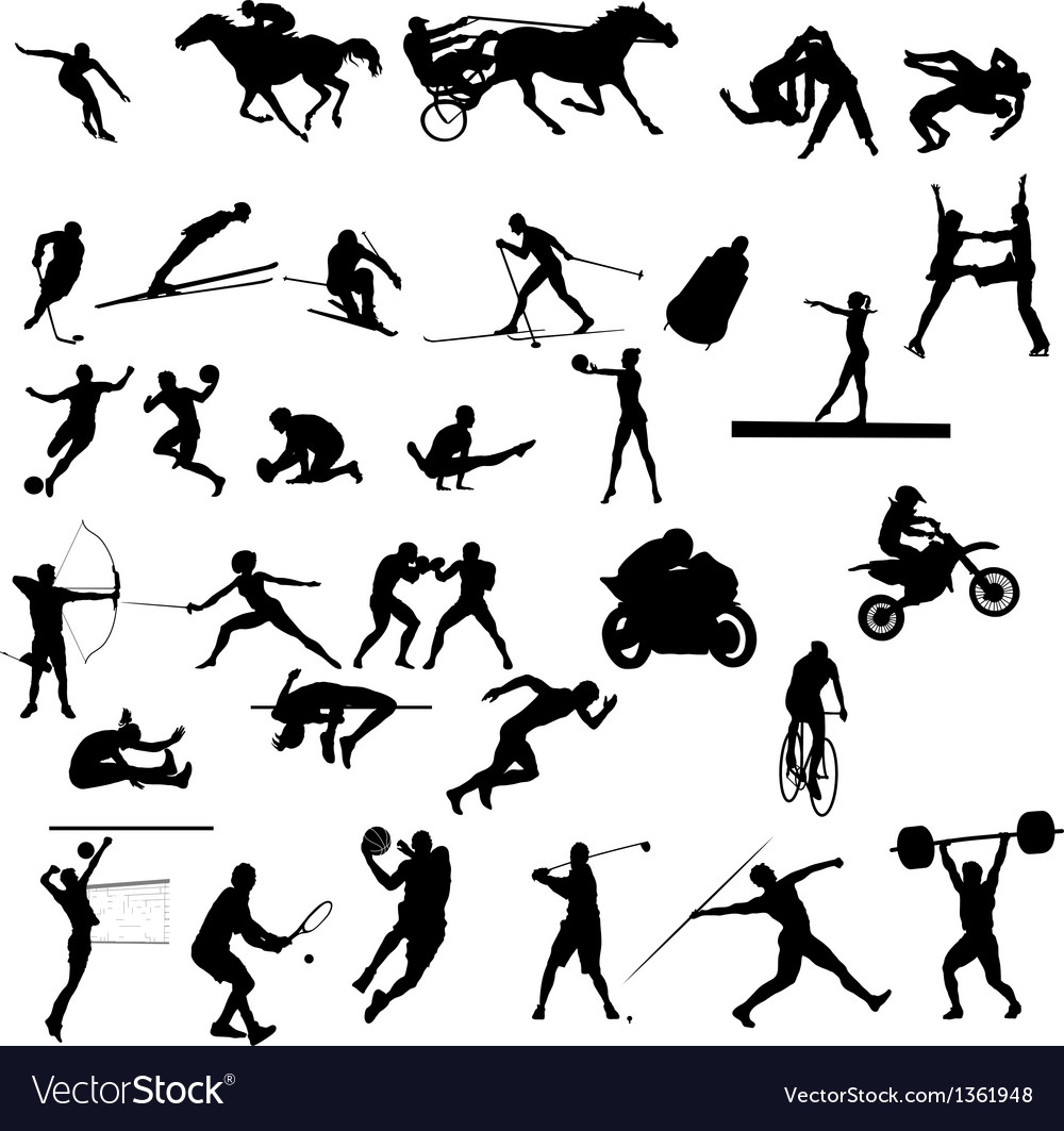 Set of sport silhouettes vector