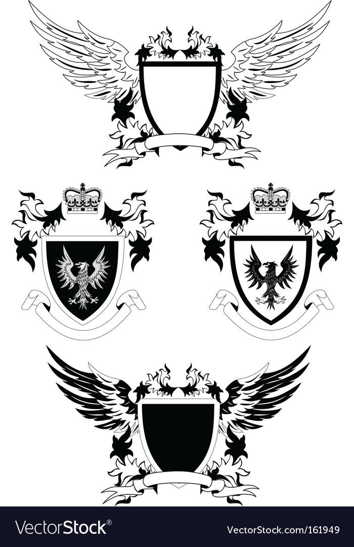 Grunge shields vector