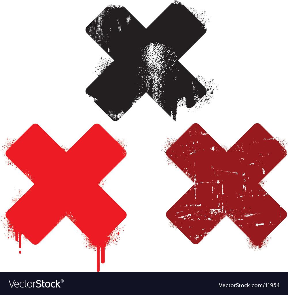 Grunge cross set vector