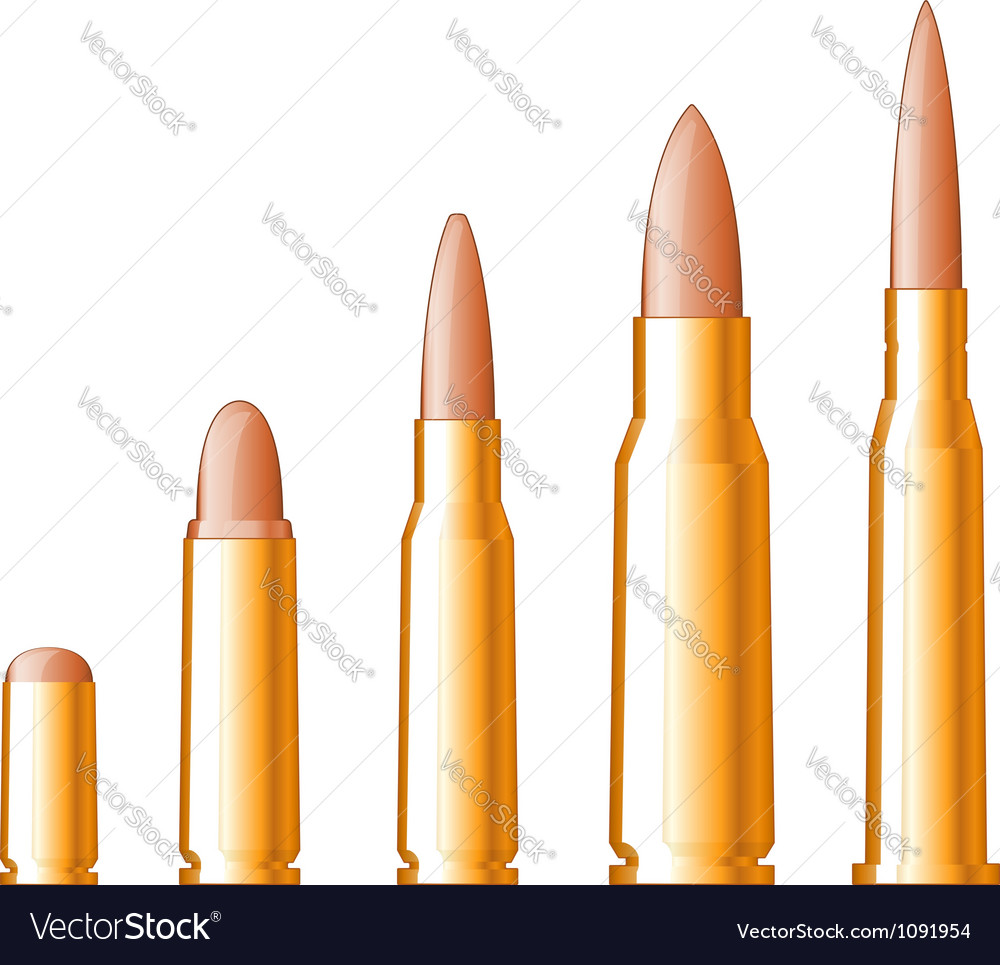 Set of gun bullets vector