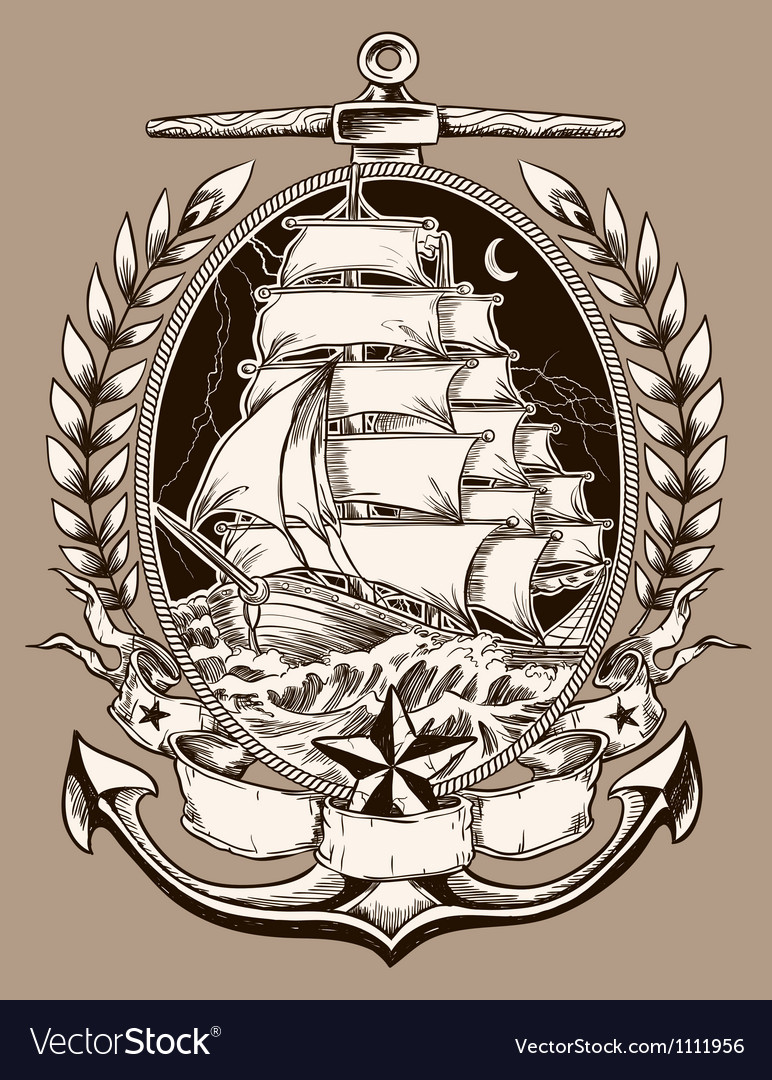 Tattoo style pirate ship in crest vector