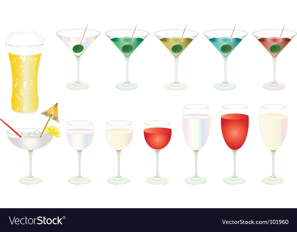 Assorted drinks vector