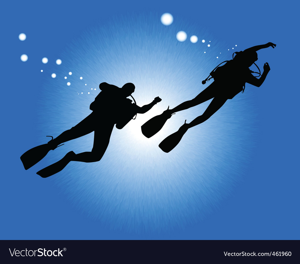 Silhouettes of two divers vector