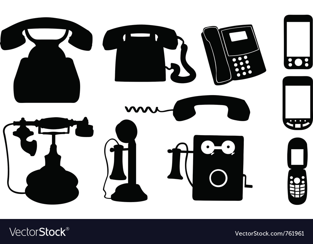 Set of telephones vector