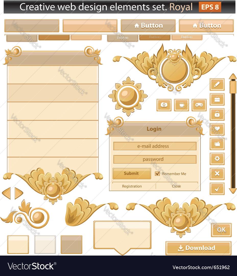 Creative web elements royal set vector