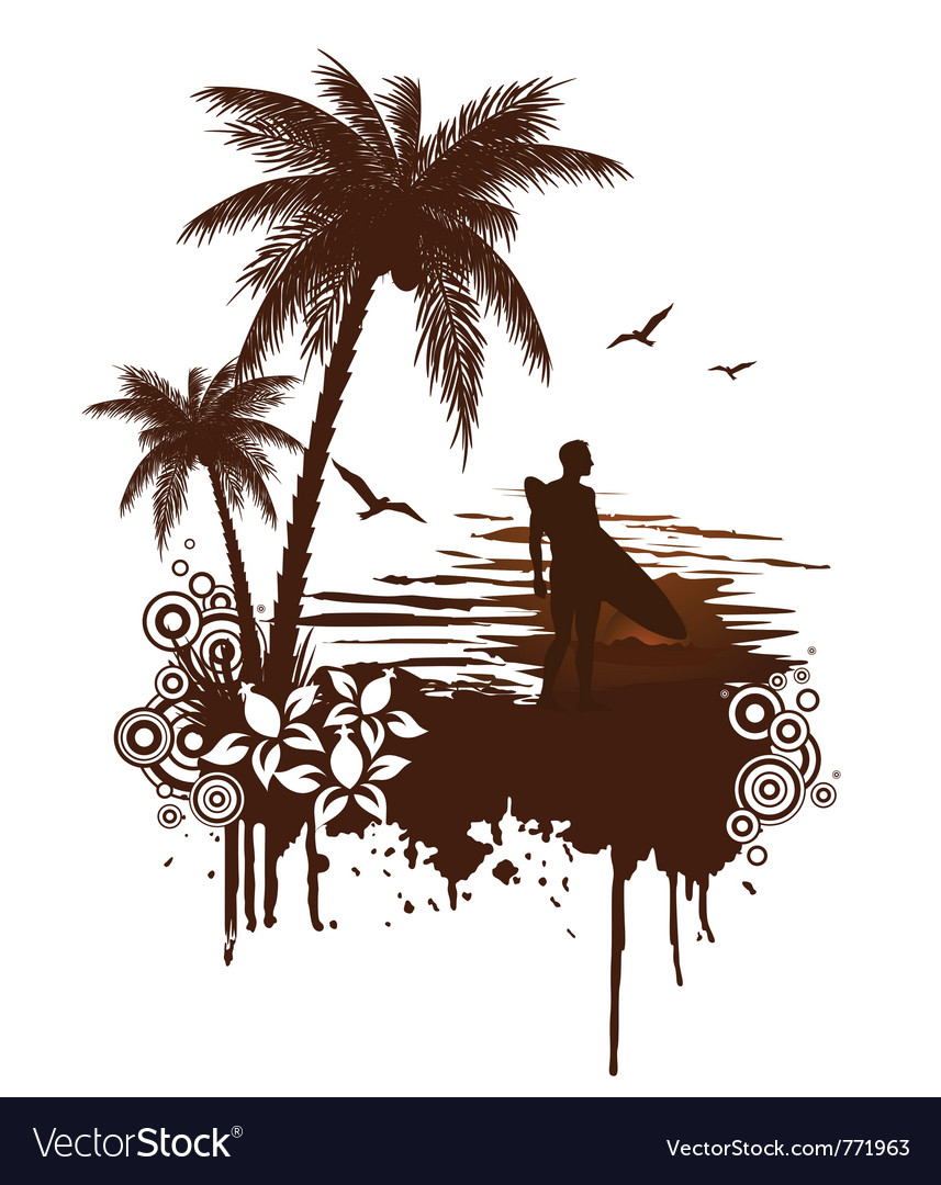 Surf grunge with surfer vector