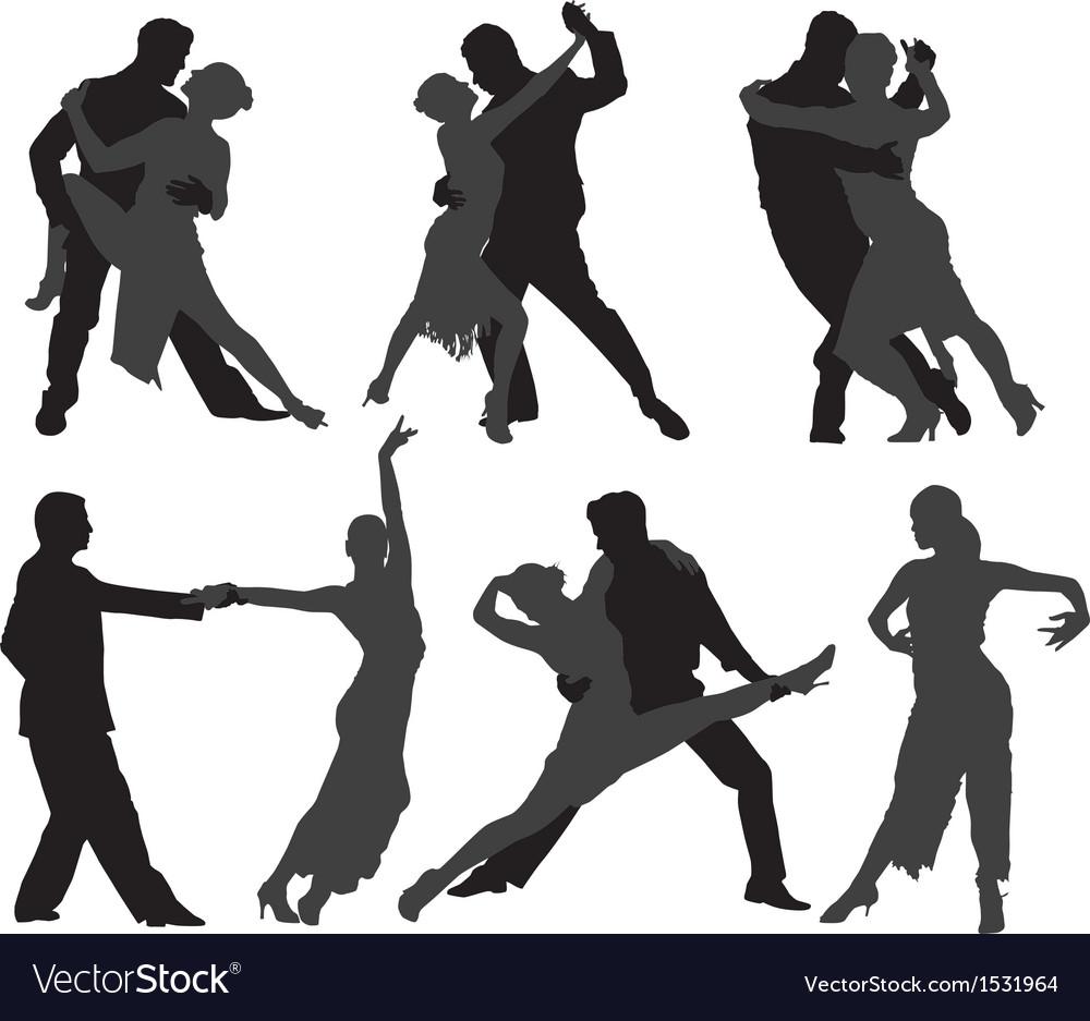 Tango dancers silhouette vector