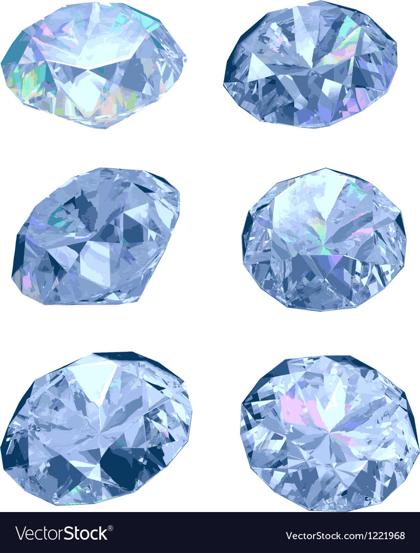 Set of six diamonds vector