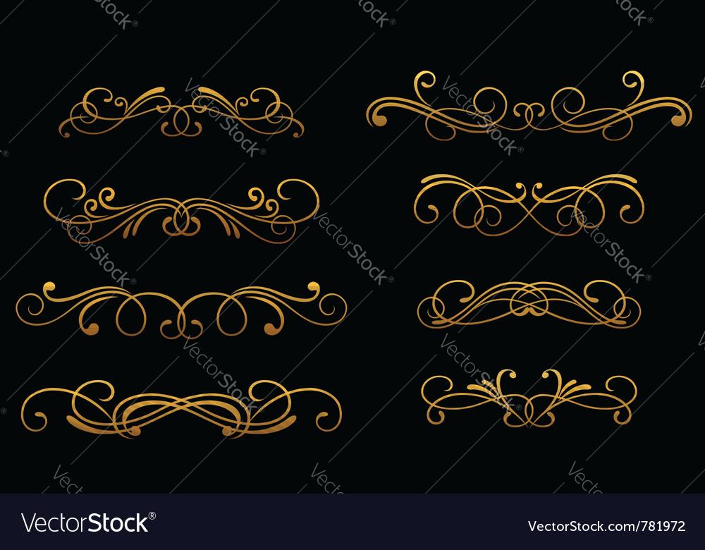 Vintage golden monograms vector