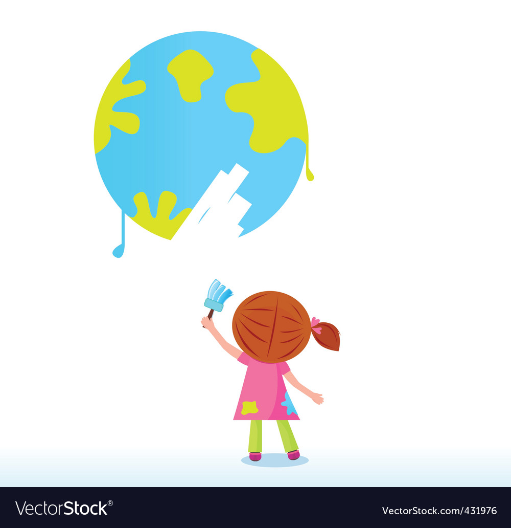 Little artist  child painting vector